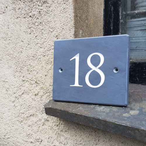 """Blue Grey Welsh Slate House Number Sign with a 3"""" Number"""