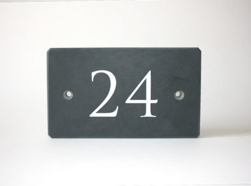 Welsh Slate House Sign - Numberplate. White painted engraved numbers with two countersunk drill holes for fixing.