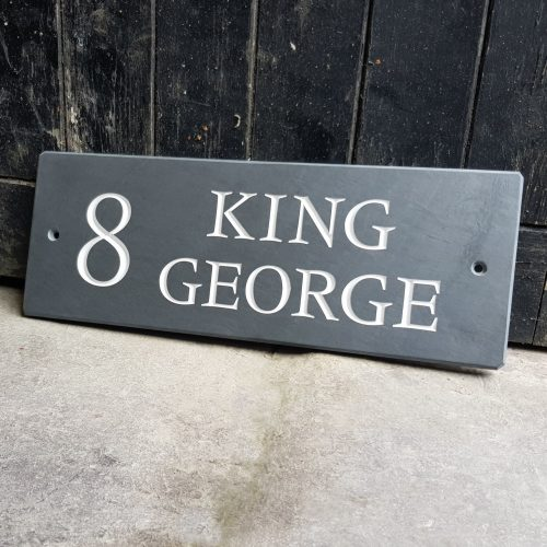 """House sign - Blue Grey Welsh Slate Nameplate with 3"""" number and 1.5"""" Letters. Engraved Roman Font painted white. Two with countersunk screw holes"""