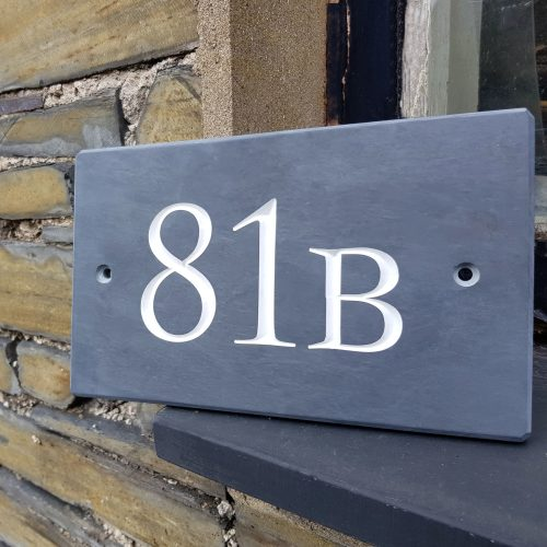 """Blue Grey Welsh Slate House sign - Number Plate with a 1.5"""" Number and a 1"""" letter. Engraved Roman Font painted White. with two countersunk screw holes"""