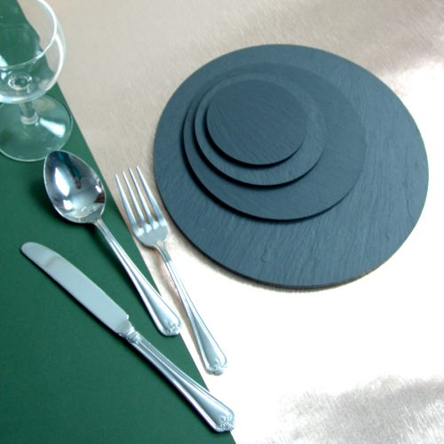 Round Placemats and Coasters in various diameter. Approximately 80mm - 230mm diameter Blue Grey Welsh Slate Place-mats