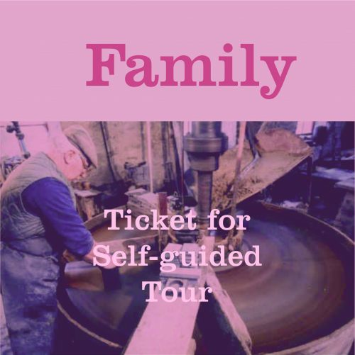 Button to buy Family Tour Ticket for The Great Slate Tour at Inigo Jones Slate Works. A Self guided tour.
