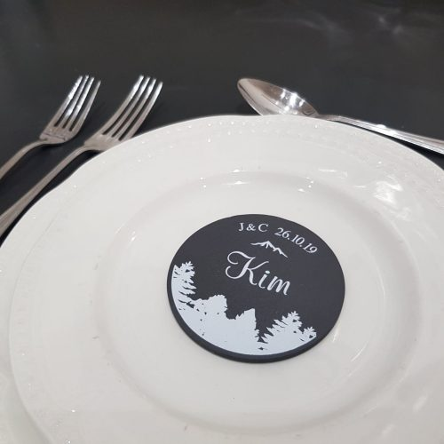 Printed Round Welsh Slate Wedding Favours