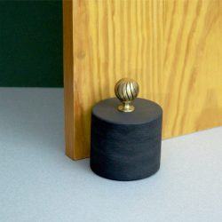 Blue Grey Welsh Slate cylinder Door stop with a brass knob