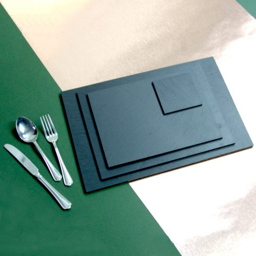 Rectangle Placemats and Square Coasters in various sizes Approximately 90mm square - 350mm x 250mm Blue Grey Welsh Slate Place-mats