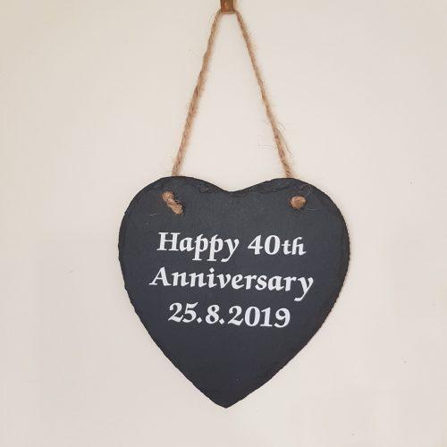 Custom Hanging Slate Plaque - Heart shaped on twine, Anniversary