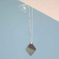 Polished Welsh Slate Pendant, diamond Shape, Necklaces on Silver Chain. Presented in Gift Box