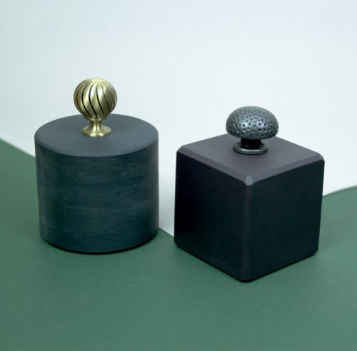 Welsh Slate Door stop with a brass and a hammered Steal knob