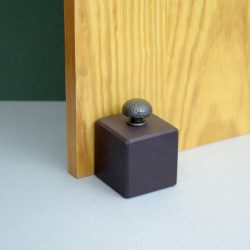 Heather Blue Welsh Slate Cube Door stop with a hammered Steal knob