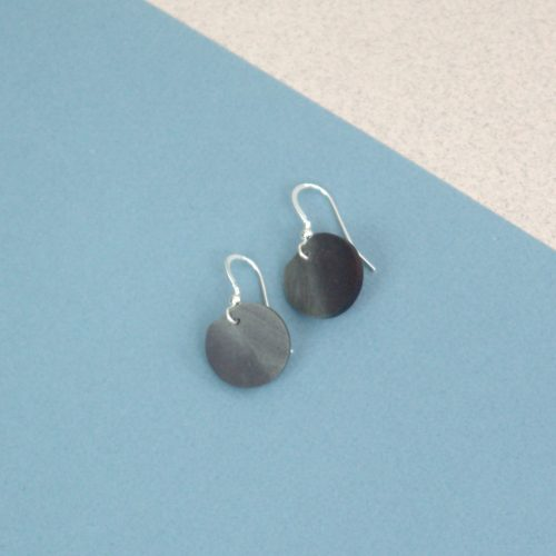 Polished Welsh Slate Round Drop Earrings on Silver Hook Findings. Presented in Gift Box.