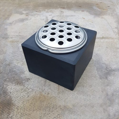 Welsh Slate Memorial Vase with silver aluminium flower container and lid