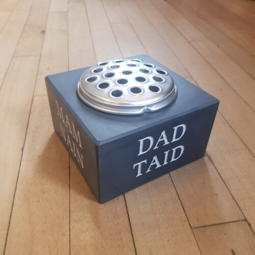 Blue Grey Welsh Slate with Silver Flower Lid Memorial Vase Engraved 'Dad Taid' and painted White