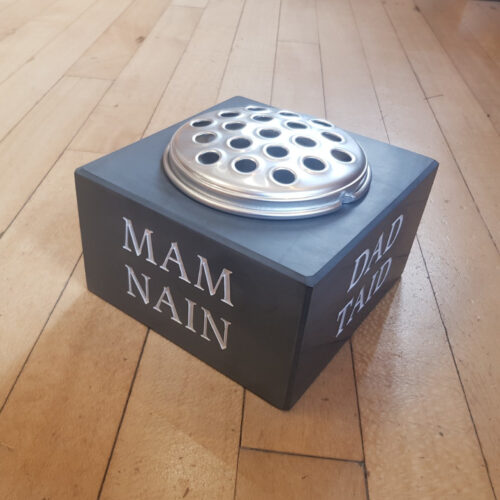 Blue Grey Welsh Slate with Silver Flower Lid Memorial Vase Engraved 'Mam Nain' and painted White