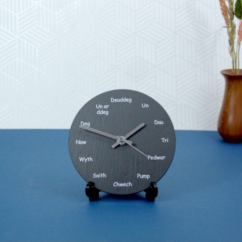 Welsh Slate Wall Clock Welsh wording dial Inigo Jones Slate Works
