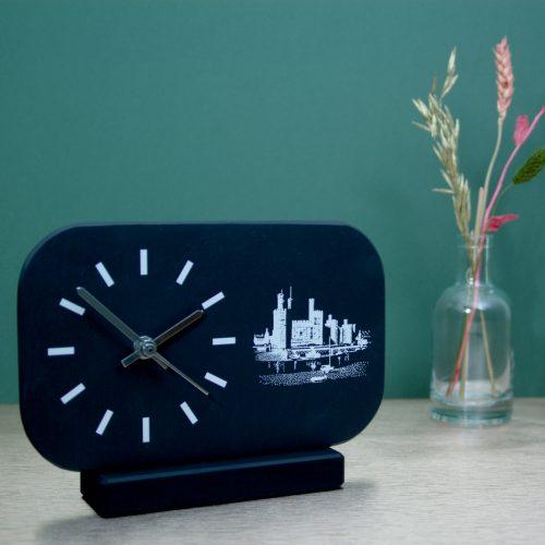 Welsh Slate Mantel Clock with castle image Inigo Jones Slate Works