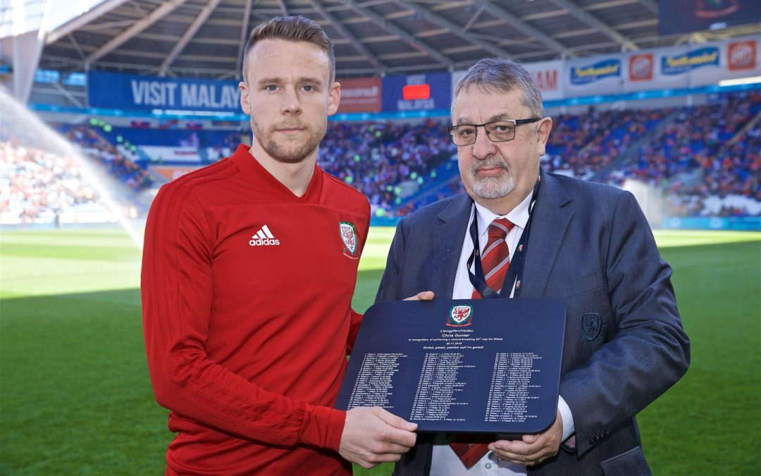 Welsh Slate Plaque for Chris Gunter for his record number of 93 caps for Wales