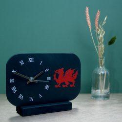 Welsh Slate Mantel Clock with roman dial & Dragon image Inigo Jones Slate Works