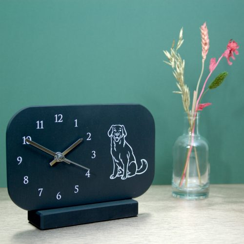 Welsh Slate Mantel Clock with Arabic dial & Labrador image Inigo Jones Slate Works