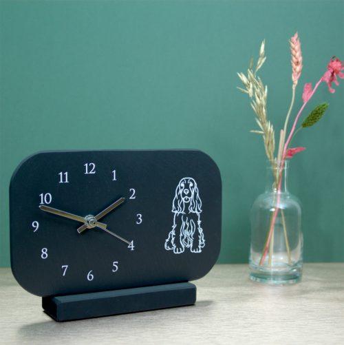 Welsh Slate Mantel Clock with arabic dial & Spaniel image Inigo Jones Slate Works