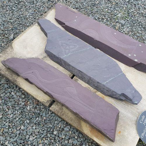Heather Blue Welsh Slate Obelisk with Engraved Celtic Patterns / images