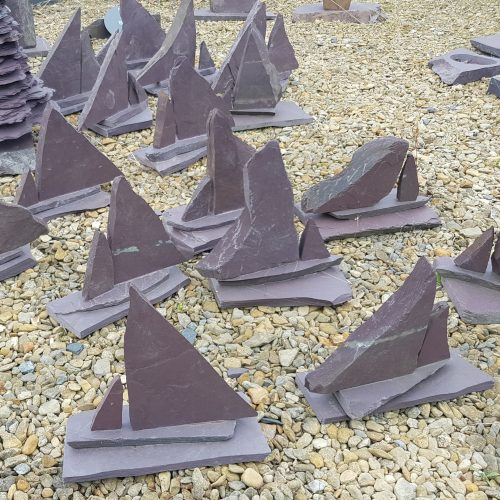 Decorative Heather Blue Welsh Slate Sailing Boat