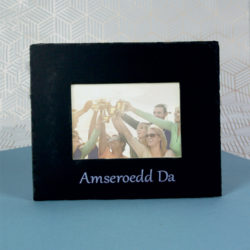 Inigo Jones Slate Works Slate photo frame - Amseroedd Da silver print wording