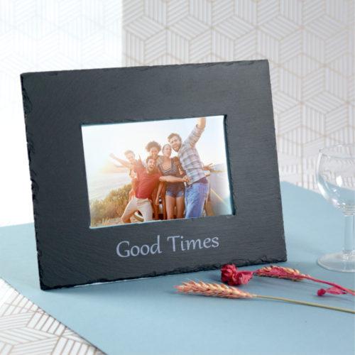 Inigo Jones Slate Works Slate photo frame - Good times silver print