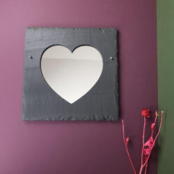 300mm dressed edge Welsh Slate square shaped wall hanging mirror with a heart cutout by Inigo Jones Slate Works