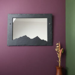 350mm x 250mm dressed edge Welsh Slate wall hanging mirror with a Mountain ridge silhouette cut out by Inigo Jones Slate Works