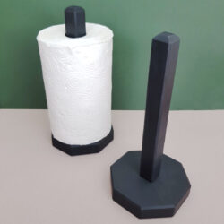 Welsh Slate Kitchen Paper Holder displayed with and without paper roll. Made by Inigo Jones Slate Works